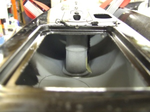 A view looking forward gto the mast / keel box which is integrated into the blow moulding process.